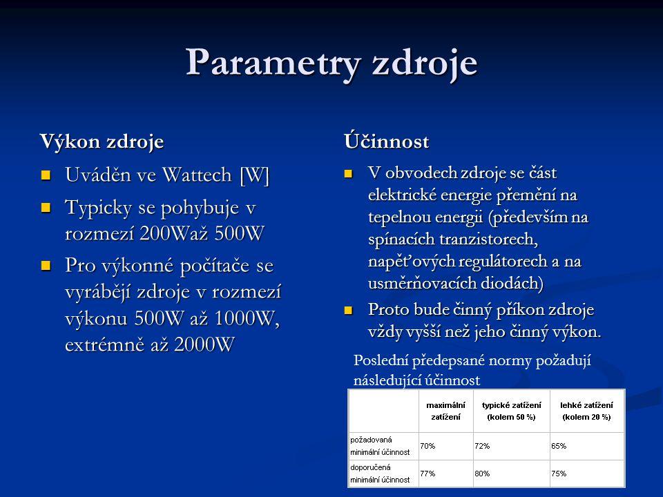 Parametry zdroje Výkon zdroje Účinnost Uváděn ve Wattech [W]